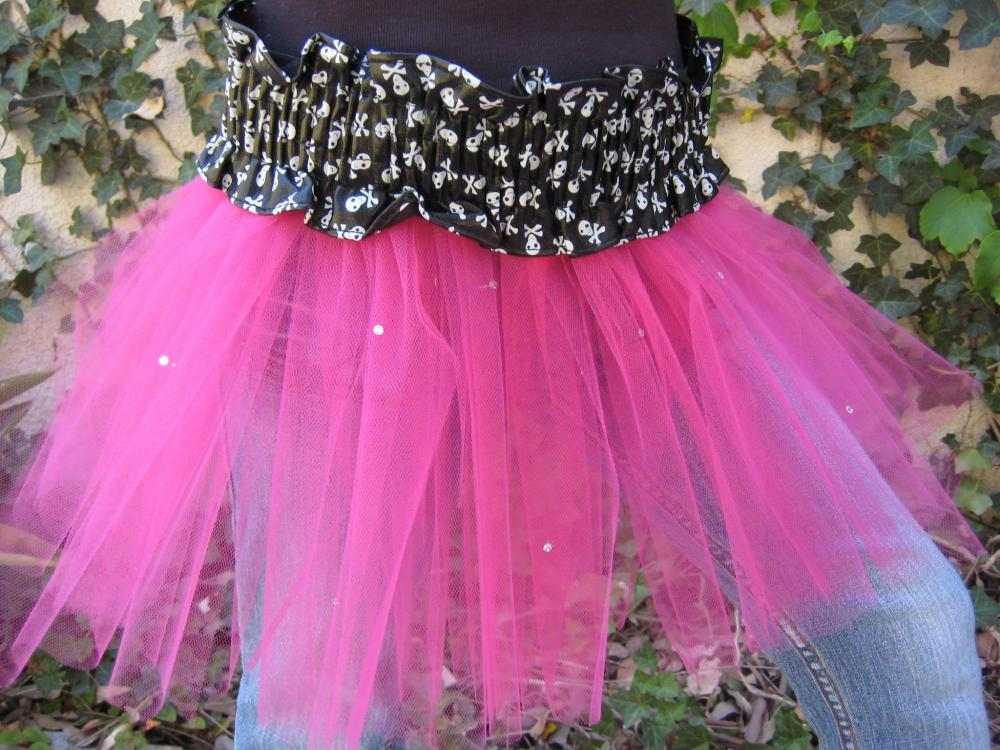 Rock Star Princess Pink Tulle skirt with Rhinestones!