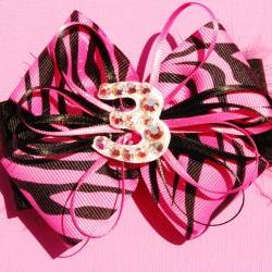 Happy 3rd Birthday Zebra Party Bow Hair clip!